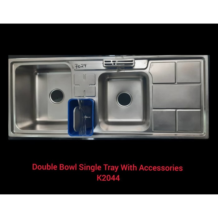 Double bowl single tray with accessories