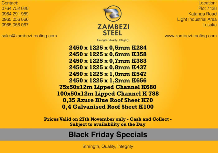 Black Friday Specials on steel products and roofing mterials