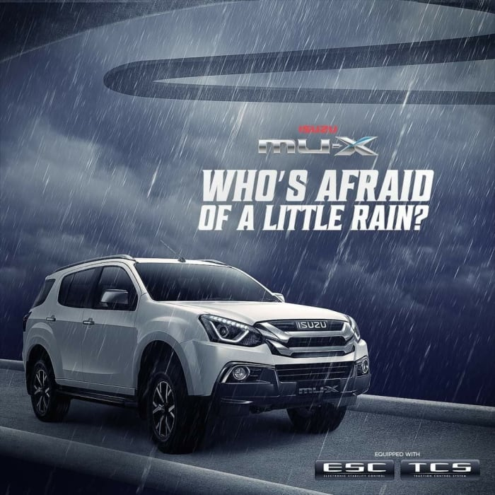 Rain or shine, the All-New ISUZU mu-X SUV won't let you down!
