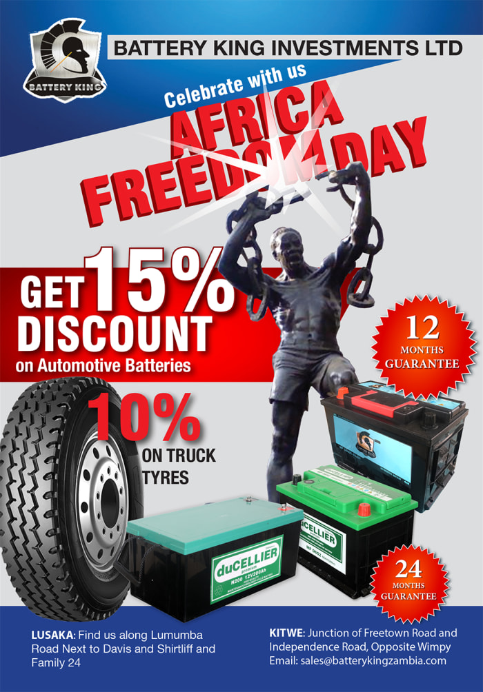 Celebrate Africa Freedom Day with Battery King - Batteries - 15% off / Truck tyres - 10% off