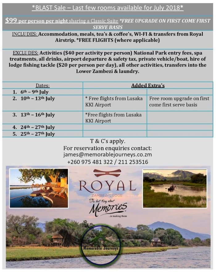Royal Zambezi Lodge last minute discount: $99 ppn and free flights!