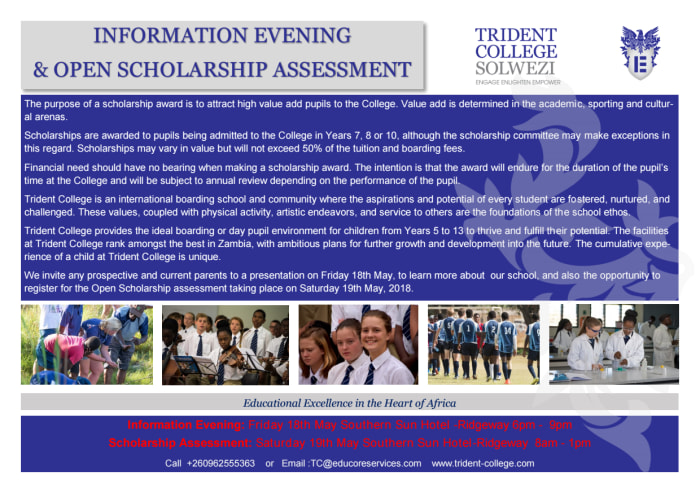 Information evening and open scholarship assessment