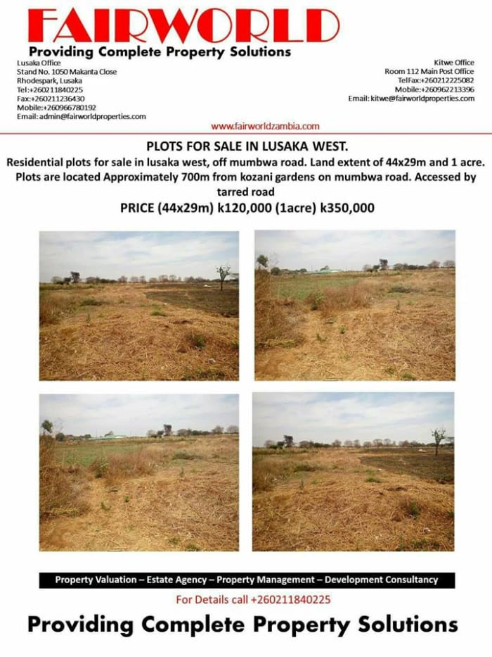 Residential plots for sale in Lusaka West