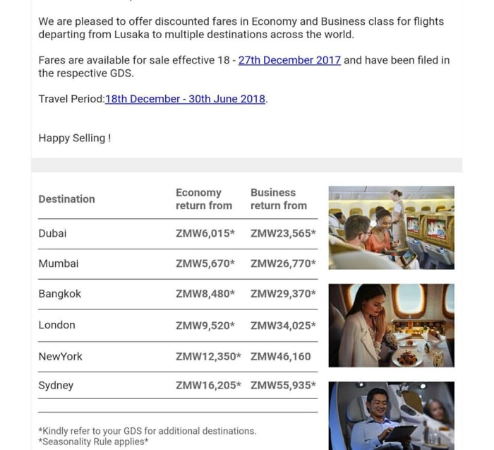 Airfare sale Emirates by Voyagers