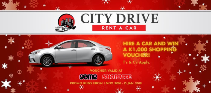 Hire a car and stand a chance to win a shopping voucher worth k1,000