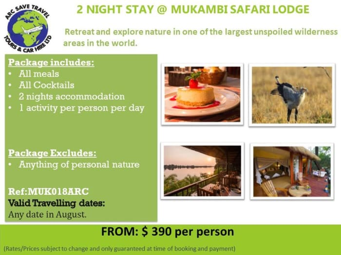 2 night package at Mukambi Safari Lodges