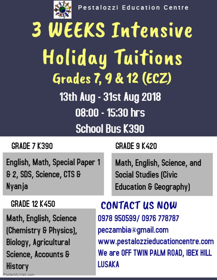 Three weeks of intensive holiday tuition for Grades 7, 9 & 12 (ECZ)
