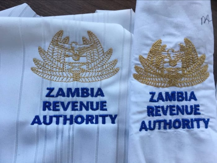 Quality embroidery done for the Zambia Revenue Authority