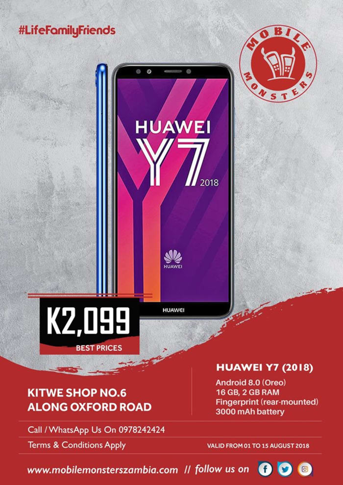 Huawei Y7 phone available at the Kitwe outlet