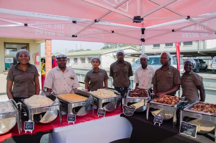 Outside catering provided for over 400 people at Zambian Breweries