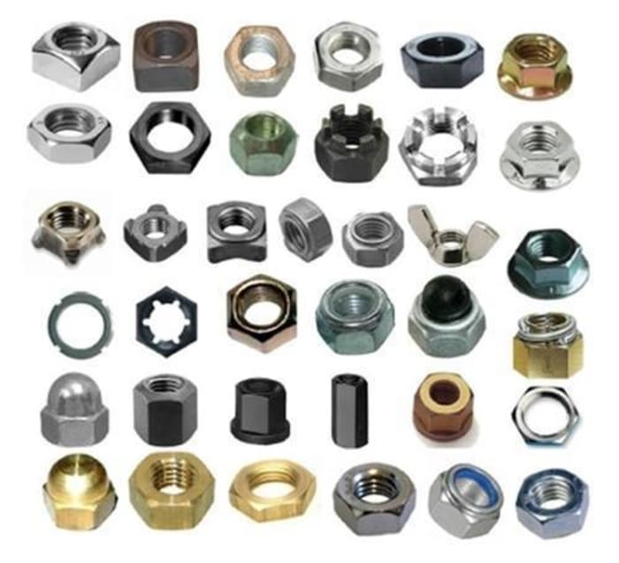 Nuts available in mild steel, high tensile steel, stainless steel, brass and nyloc