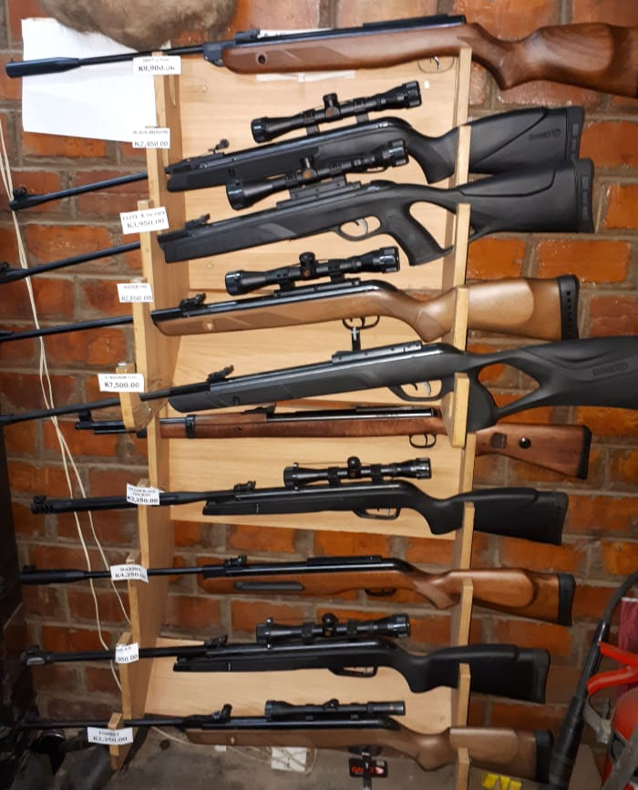 A large range of firearms and ammunition