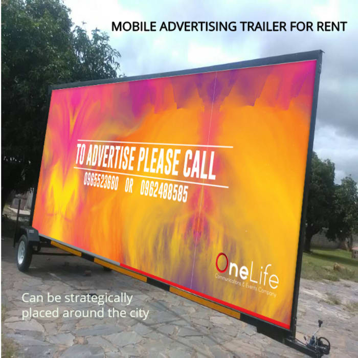 Mobile advertising trailer available for rent