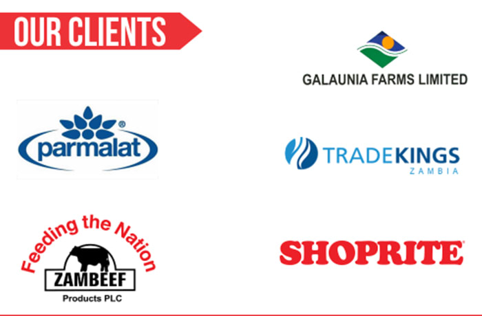Some clients are Shoprite, Zambeef, Parmalat, Trade Kings