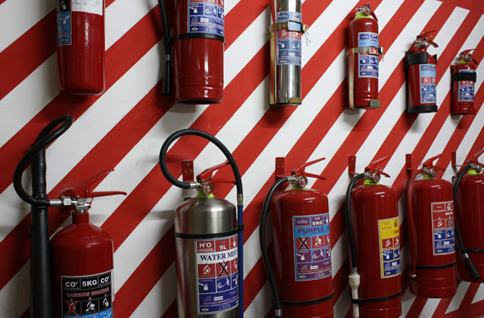 All types of fire extinguishers