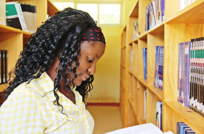 Fully stocked library that also offers electronic resources
