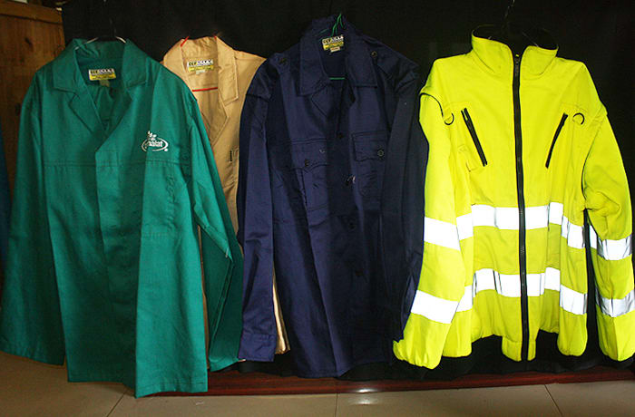 Cotton and acid proof dust coats available