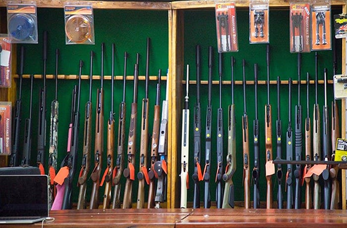 A variety of firearms and accessories
