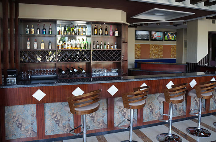 Bar area provides a casual relaxed setting