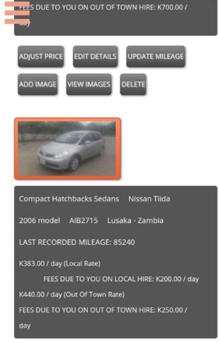 Once you have listed your car you can make various settings and changes