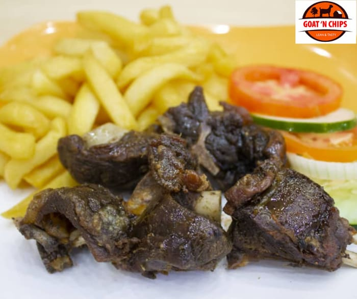 Fried, grilled, smoked, curried and stewed goat meat served with chips