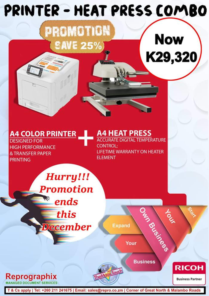 Save upto 25% on A4 color printer and A4 Heat Press machine