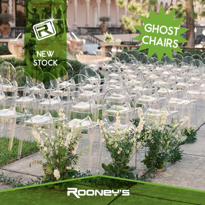 Ghost Chairs now available at Rooney's Hire