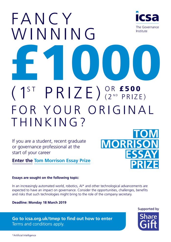 ICSA - Tom Morrison Essay writing competition