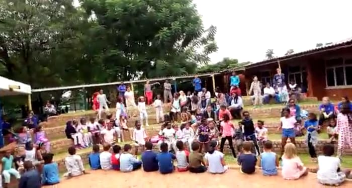 Primary students participate in flash mob
