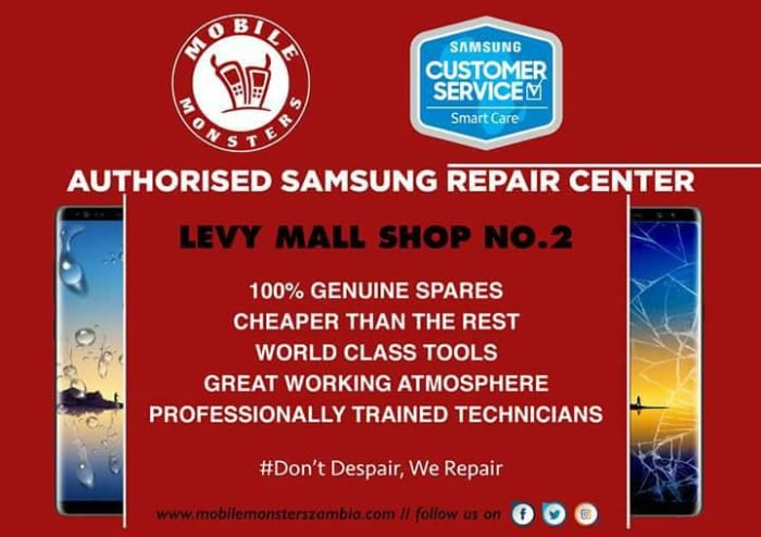 Samsung repairs available from authorised centre