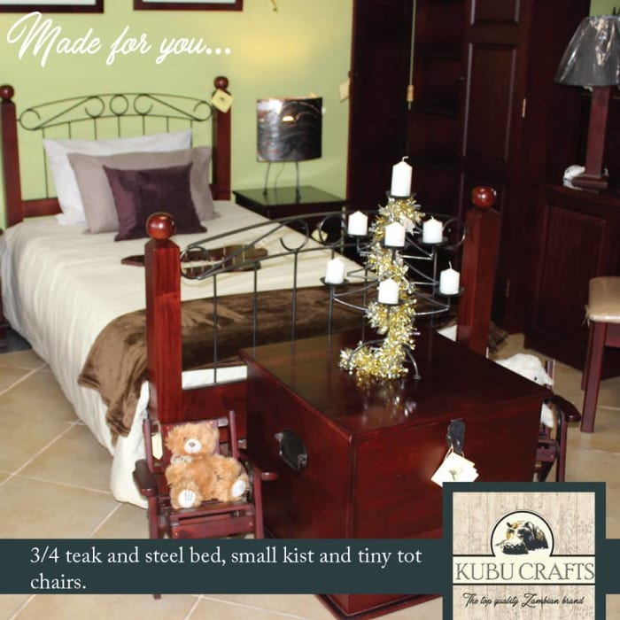 3/4 Teak and steel bed for sale