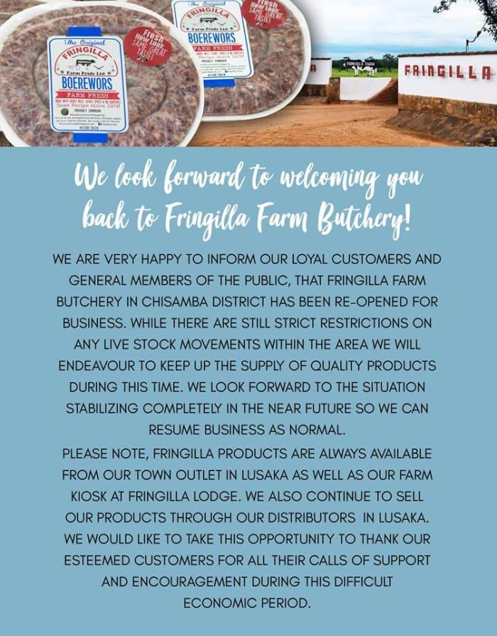 Fringilla Farm Butchery reopens for business