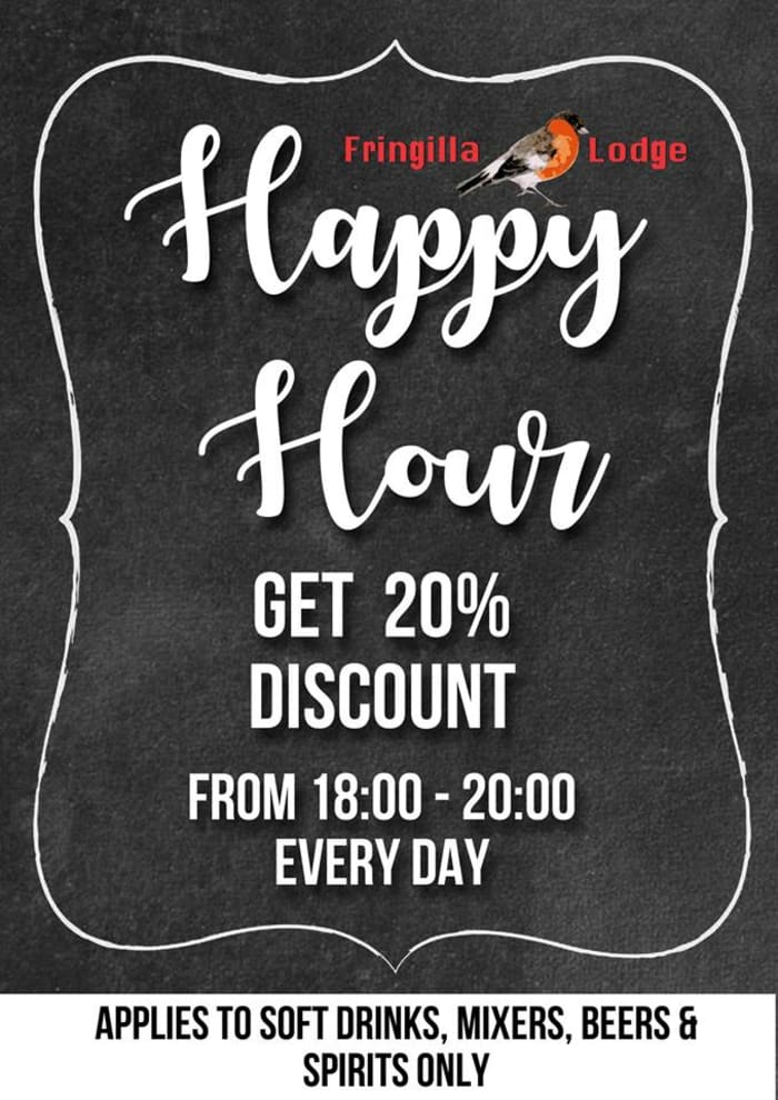 Happy hour daily - Get 20% off selected drinks