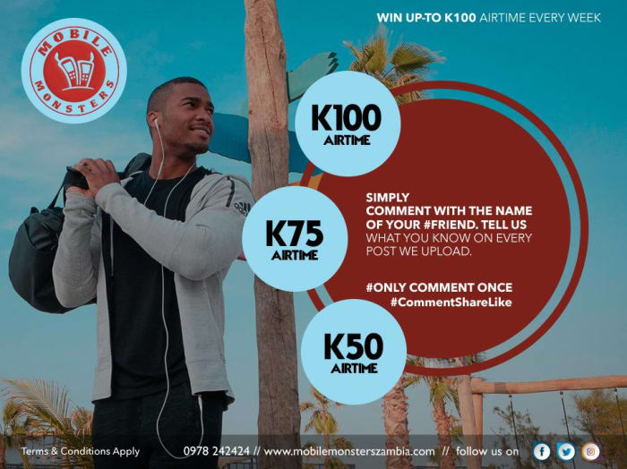 Win up to K100 airtime every week