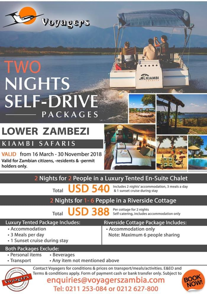 Lower Zambezi two nights self-drive package