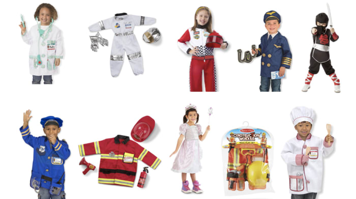 Children's role playing costumes available in stock