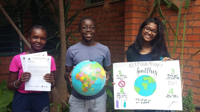 Students work on Plastic Pollution Awareness Project