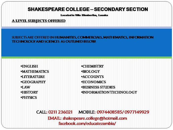 Shakespeare A levels 2018 enrollment