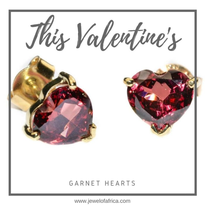 Garnet heart studs available in store