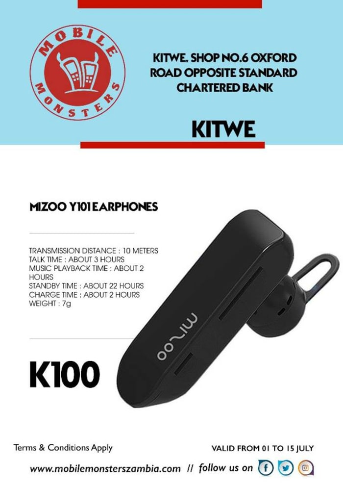 Bluetooth earpieces available from Kitwe outlet