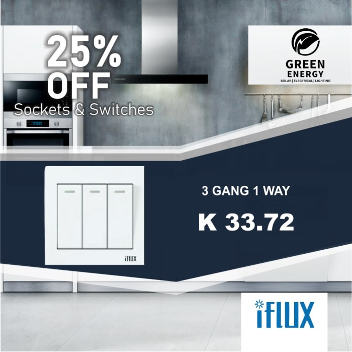 25% Off iFlux 3 Gang 1 Way switch