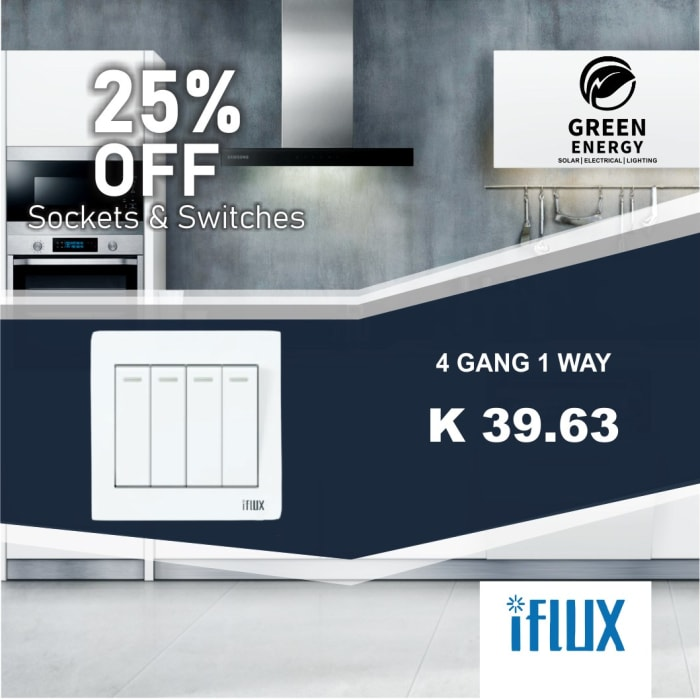 25% Off iFlux 4 Gang 1 Way switch