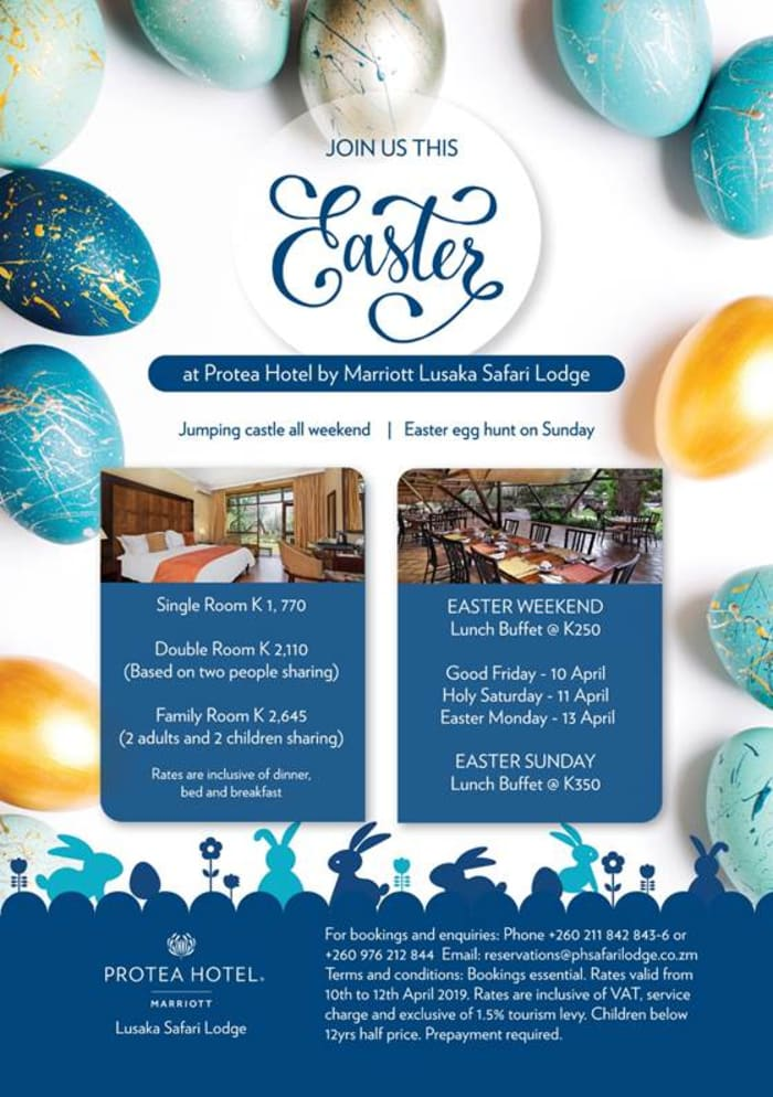 Join Protea Hotel by Marriot Lusaka Safari Lodge this Easter holiday