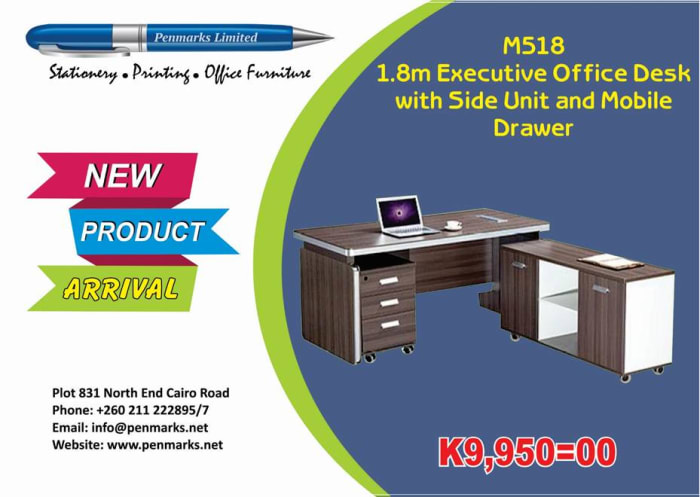 1.8m Executive office desk with side unit and mobile drawer on offer