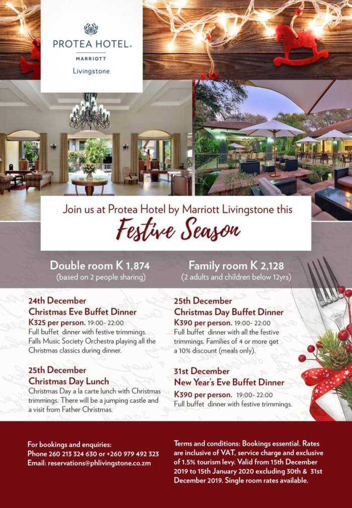 Join Protea Hotel by Marriott Livingstone this Festive Season