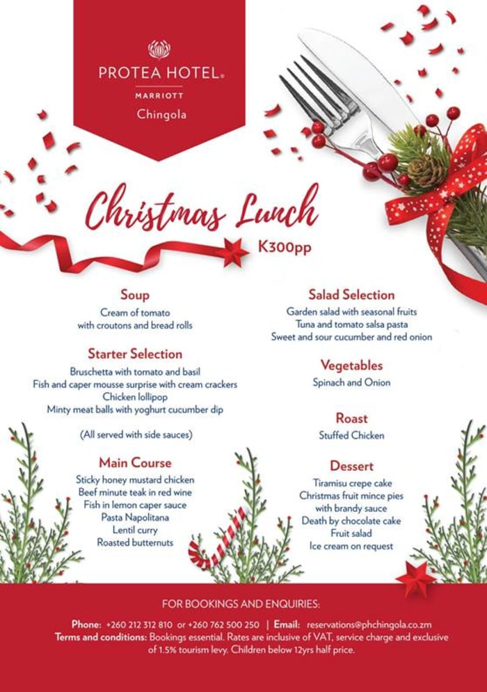 Christmas lunch at Protea Marriott Hotel in Chingola