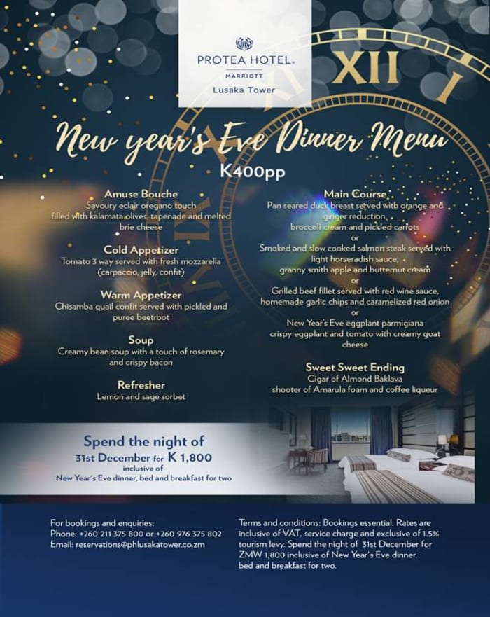 New years Eve dinner menu - Lusaka Tower