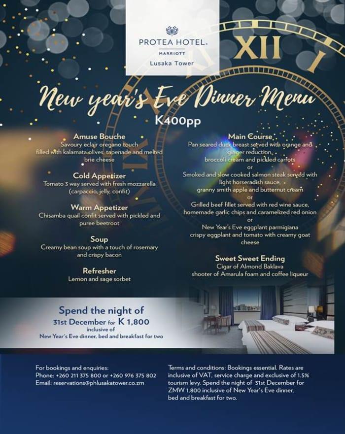 New years Eve dinner menu - Lusaka Tower