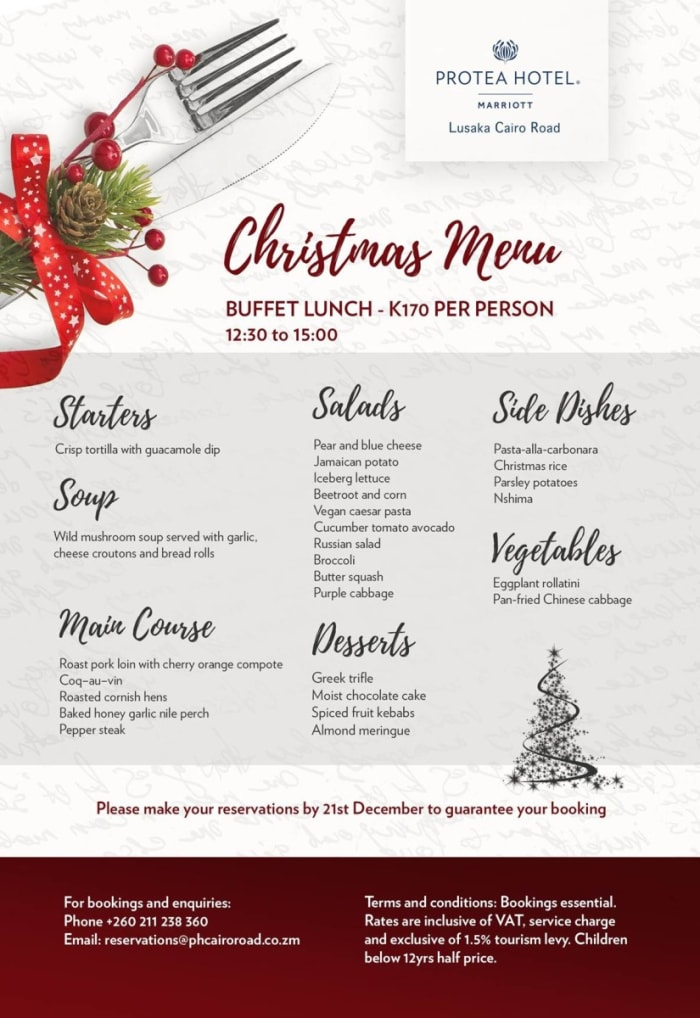 Christmas Menu - Lusaka Cairo Road