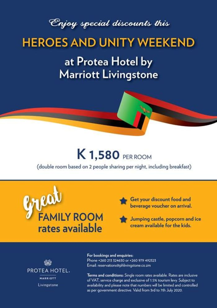 Enjoy special discounts this Heroes and Unity Weekend at Protea Hotel by Marriott Livingstone